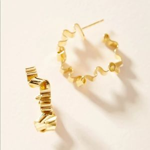 Anthropologie Gold Curly Hoop Earrings